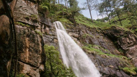 Una impresionante cascada en Aceh, Indonesia. Aquí, los caficultores cultivan una variedad de arábica conocida por ...