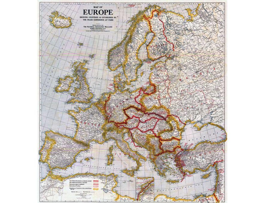 Este mapa de Europa, publicado en el número de febrero de 1921, representa a los países ...