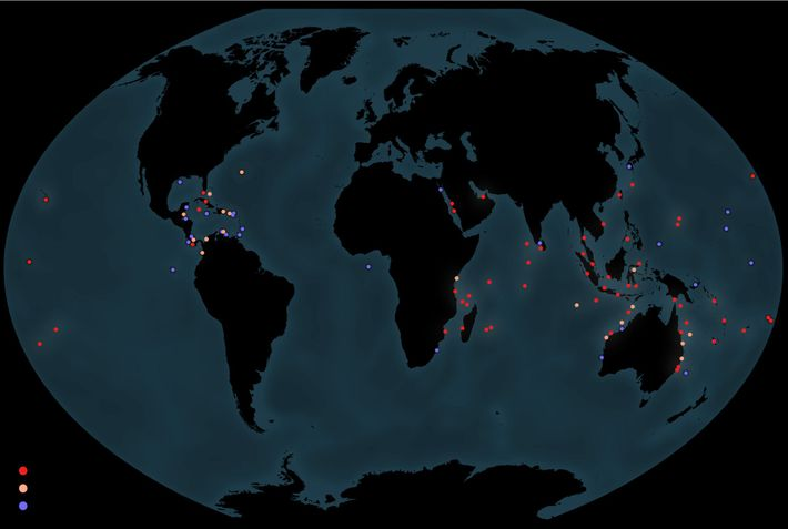Mapa del estado de los corales