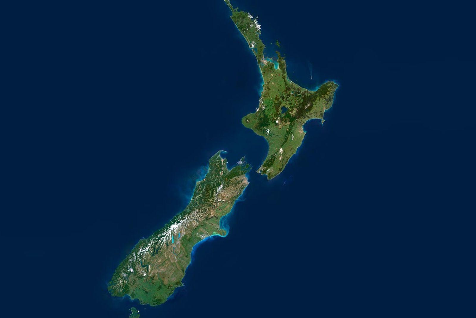 Imagen por satélite de Nueva Zelanda.