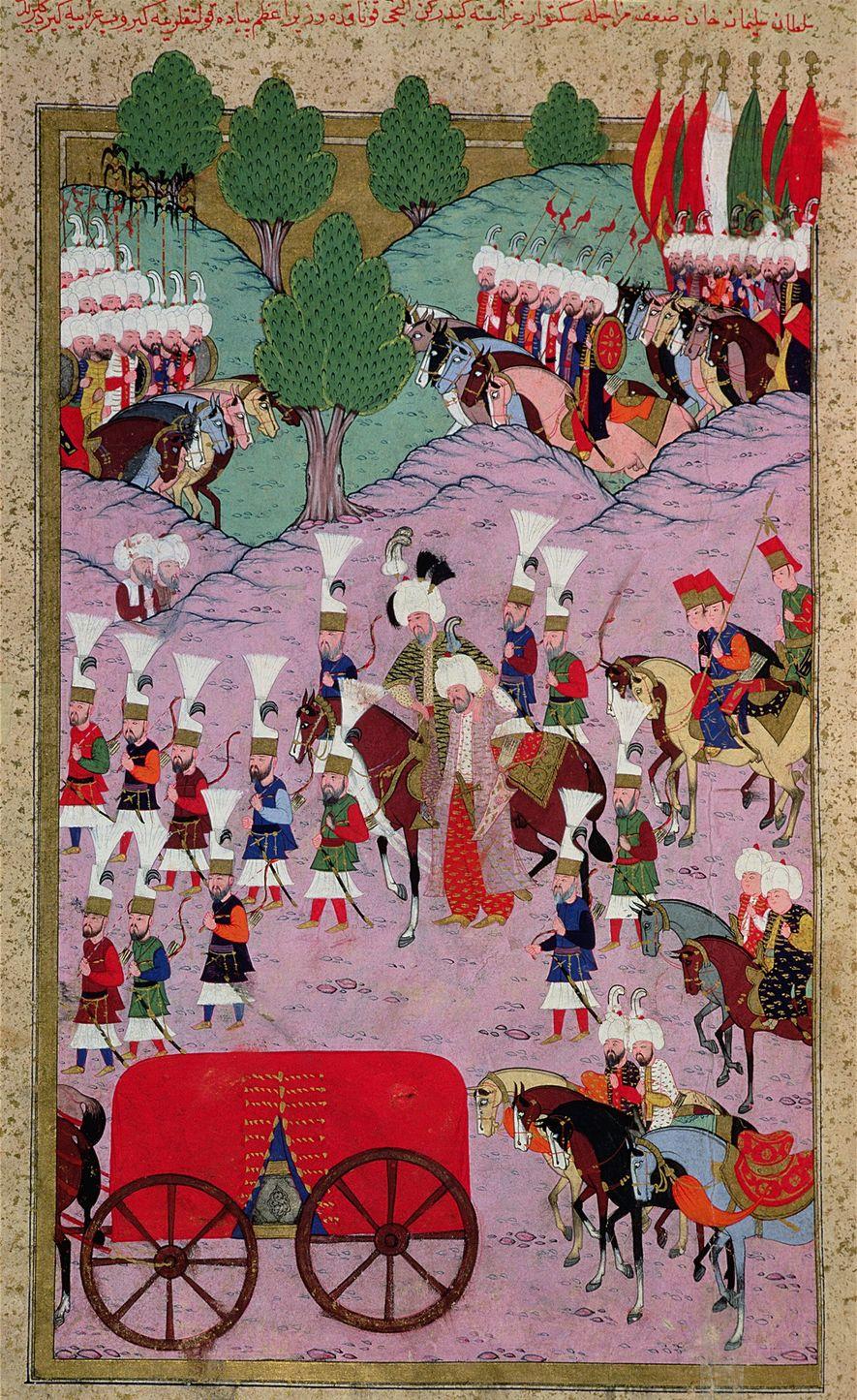 Esta miniatura del siglo XVI representa al ejército de Solimán el Magnífico marchando hacia Europa.