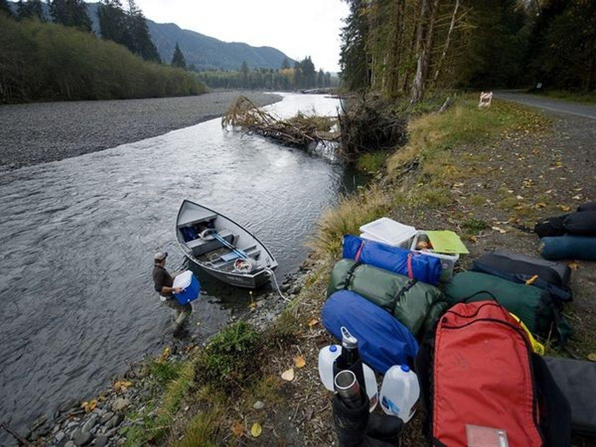 Imagen de campistas preparándose para pescar con mosca en el río Queets, Washington