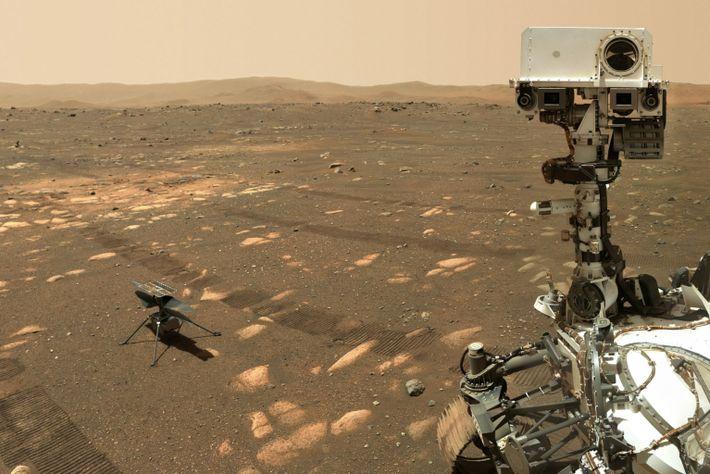 Selfi del róver Perseverance con el helicóptero Ingenuity en Marte