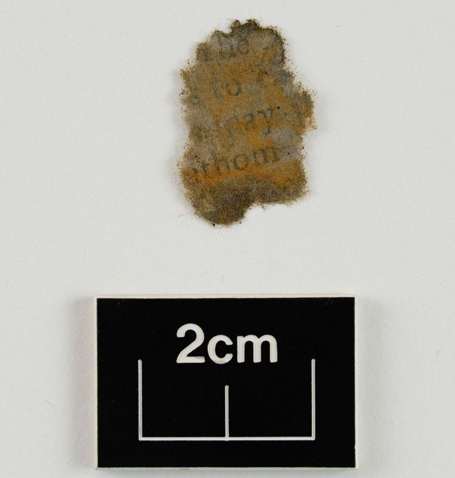 Texto sobre un fragmento de papel, limpiado y secado tras ser extraído de la cámara del cañón.