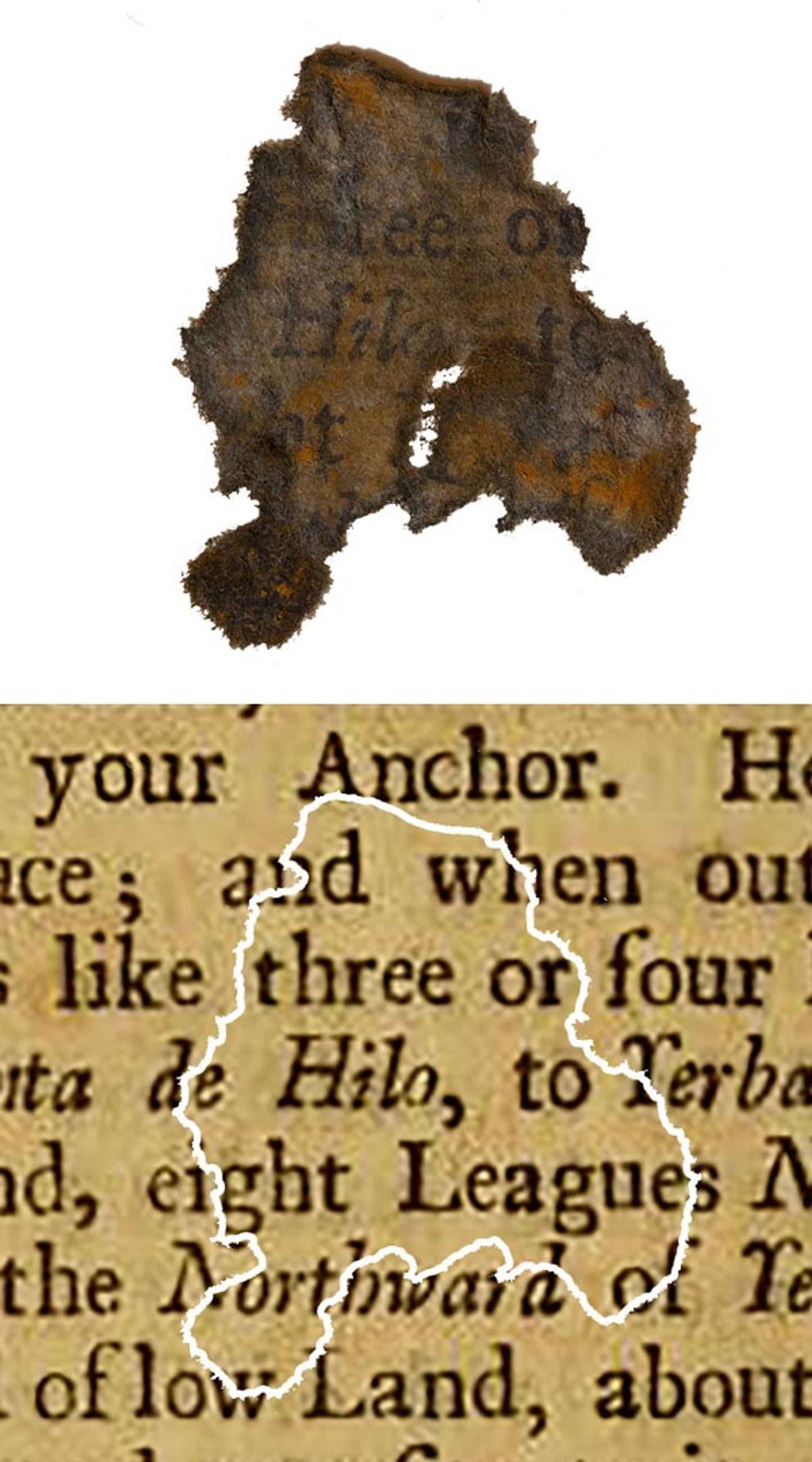 Un fragmento de papel descubierto en el buque insignia de Barbanegra, la Venganza de la Reina Ana, comparado con el libro del que procede.
