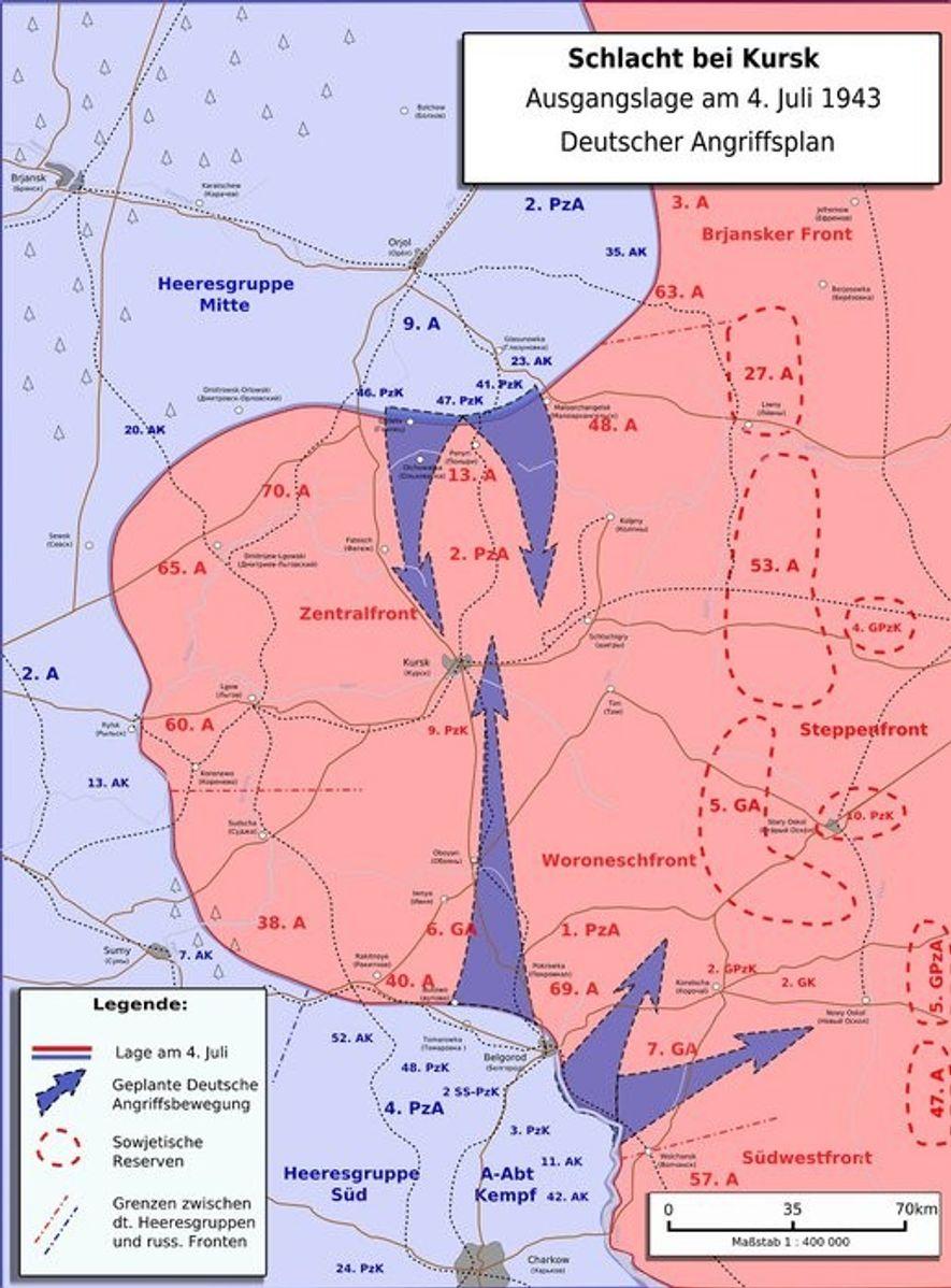 Los planes alemanes para la Operación Ciudadela mediante la cual pretendían cercar el saliente de Kursk.