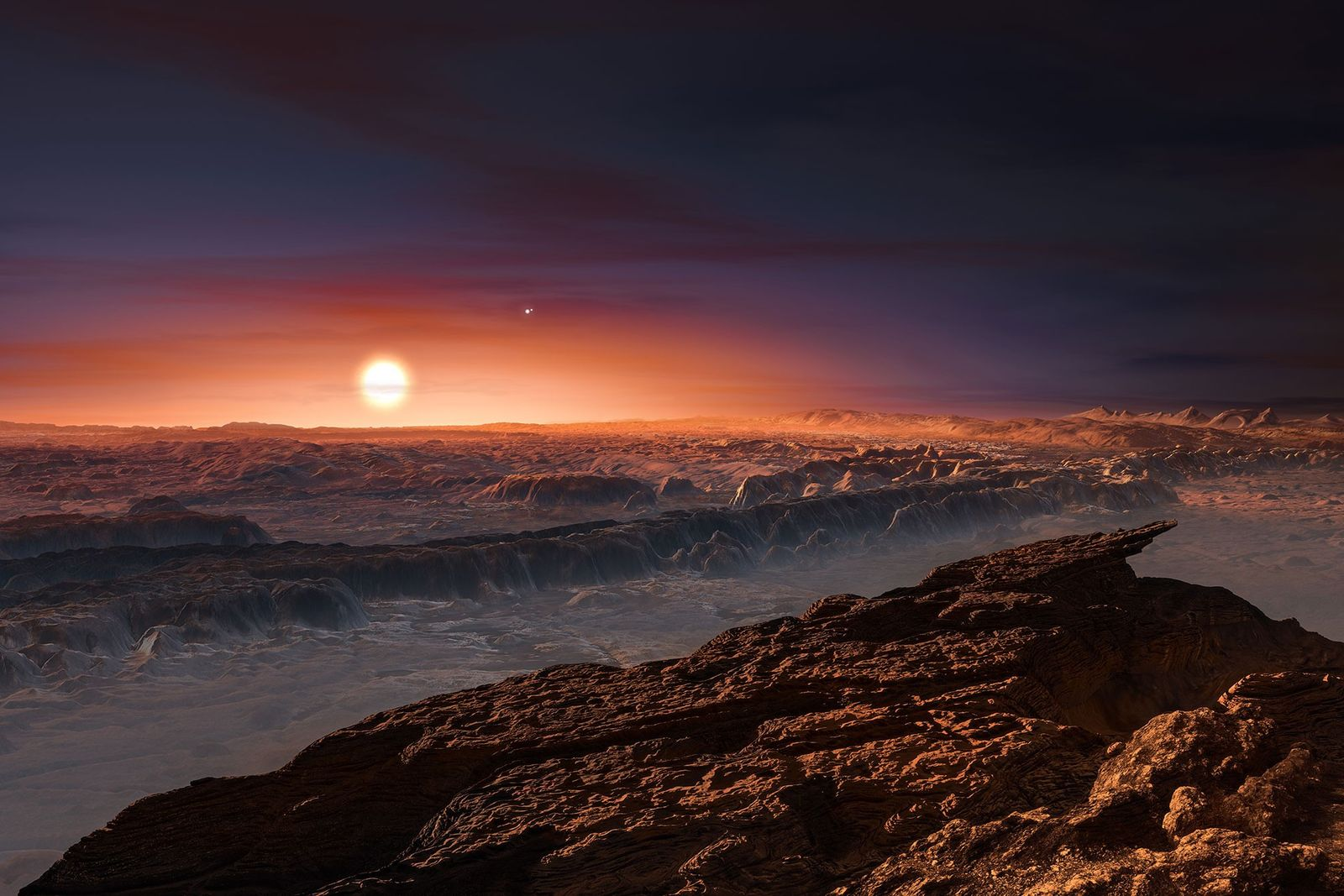 Ilustración de un planeta orbitando Proxima Centauri
