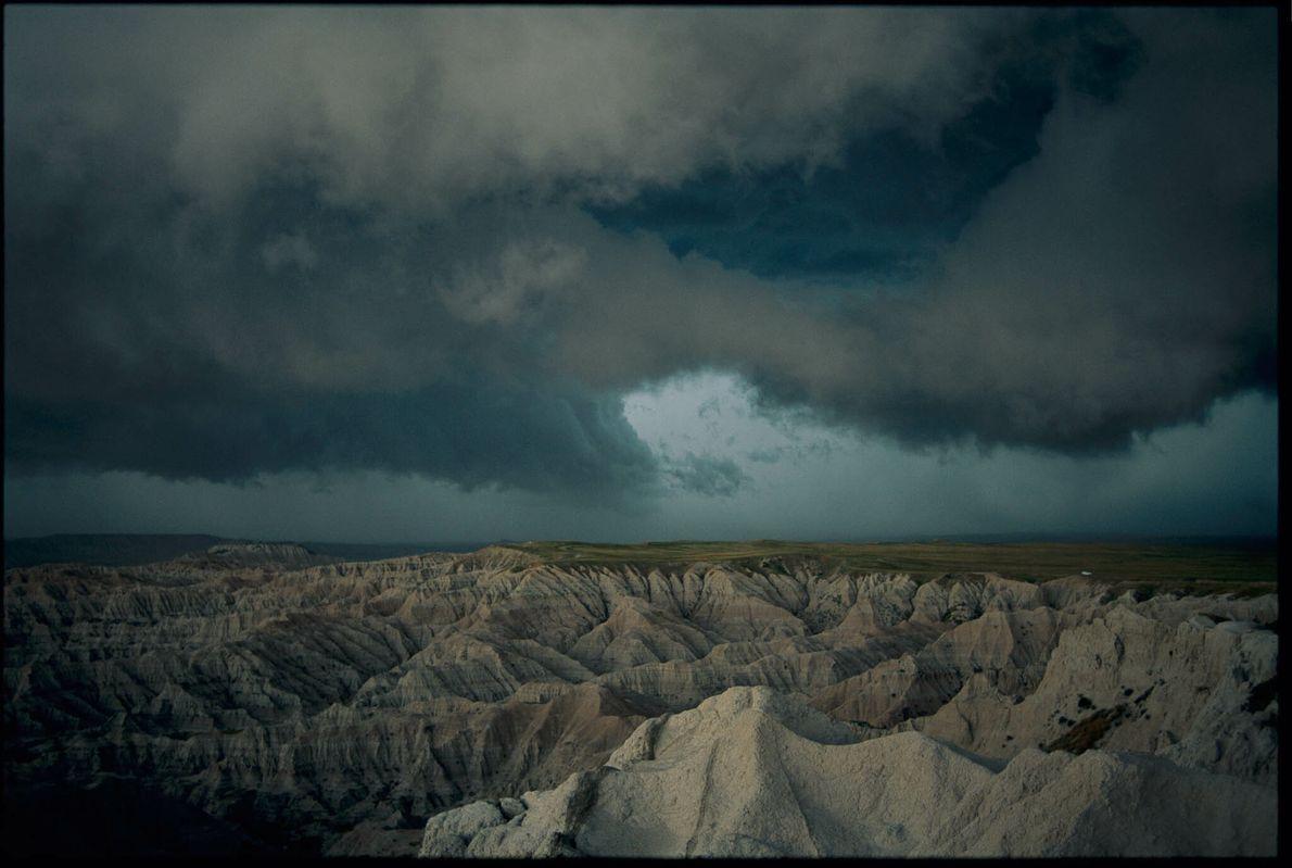 Tormenta en el parque nacional de las Badlands