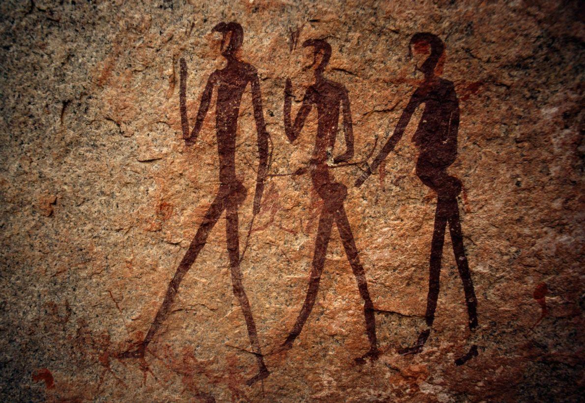 Una antigua pintura rupestre en Namibia