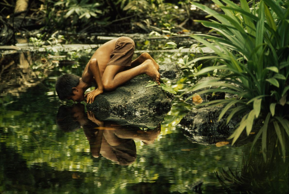 Imagen de un niño bebiendo de un estanque de agua dulce en Tidore, Indonesia