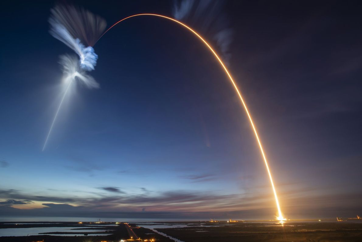 Picture of SpaceX Falcon 9 rocket launching into space