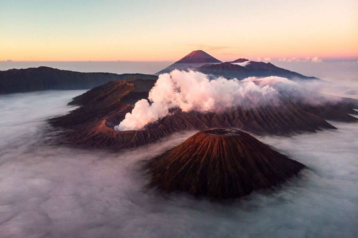 Picture of Mount Bromo, Mount Batok, and Mount Semeru in Indonesia