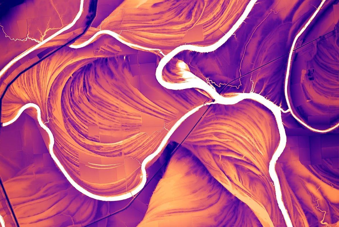 Un modelo derivado de datos lídar muestra las marcas del río Saint Francis en Arkansas. Esta …