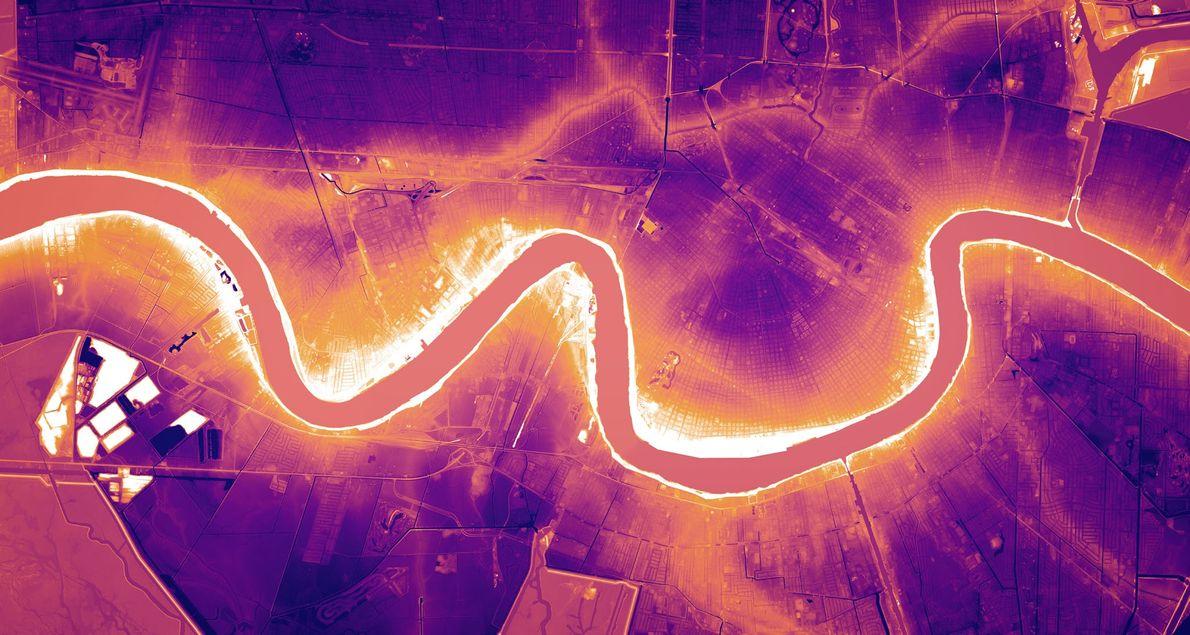 En Nueva Orleans, Luisiana, las imágenes de lídar muestran el río Misisipi a una elevación superior …