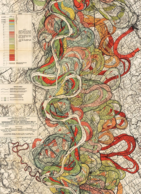 Un mapa de 1944 del geólogo Harold Fisk cartografía la franja de 64 kilómetros del río Misisipi que va de Friars Point a Gunnison, en el estado de Misisipi. Fisk empleó fotografías aéreas y mapas para estimar los canales pasados y presentes de entonces.