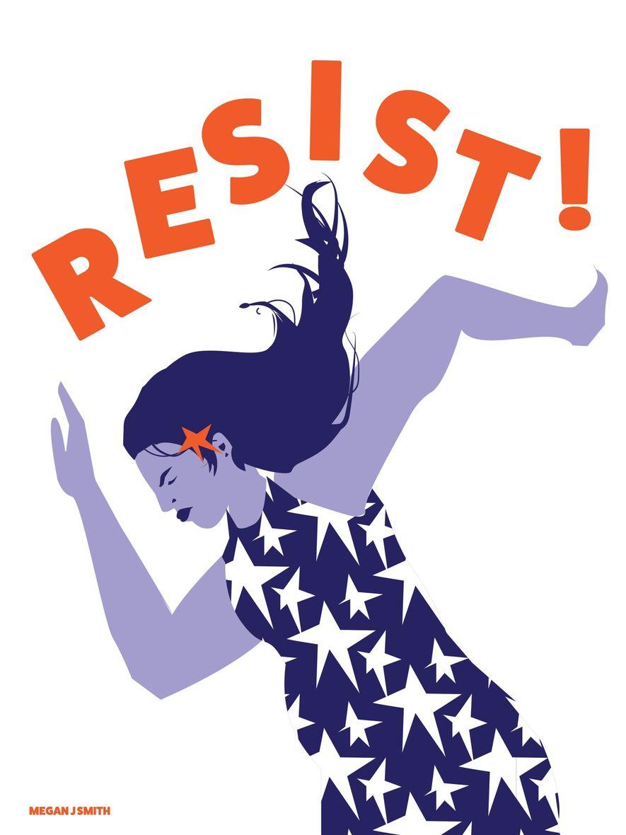 """Póster inspirado en la Marcha de las Mujeres de 2017 en Washington que reza """"Resist!""""."""