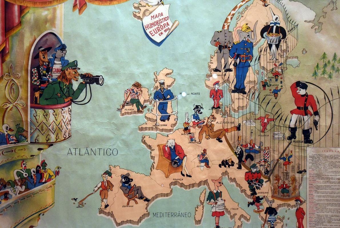 Publicado en 1953, este mapa satírico portugués representa la Guerra Fría y muestra a Europa como ...