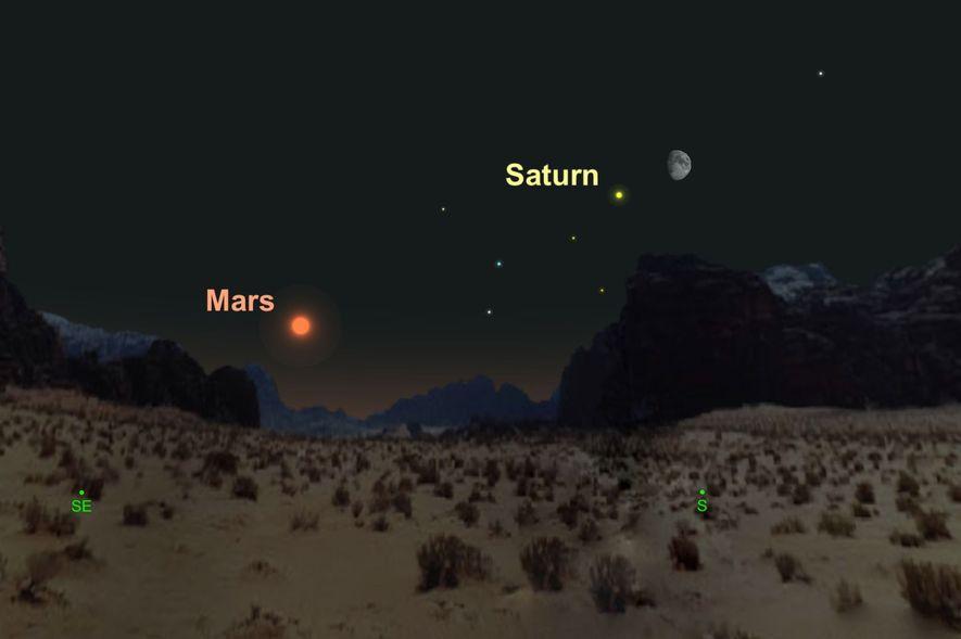 Un Saturno amarillo se arrimará a la luna gibosa creciente el 20 de agosto.