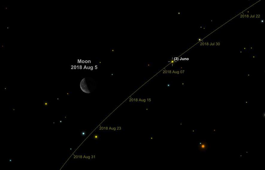 Juno, un asteroide de 260 kilómetros de ancho, flotará entre las estrellas que componen la constelación ...