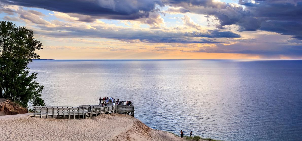 Imagen de una perspectiva escénica en Sleeping Bear Dunes National Lakeshore, Michigan