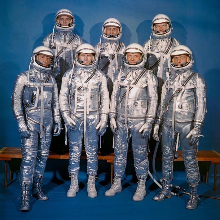 Los siete astronautas seleccionados para el Programa Mercury