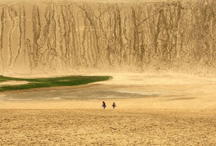 Dos niños en las dunas
