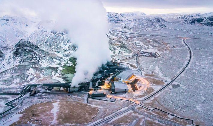 Fotografía de una planta de captura de carbono en Hellisheidi
