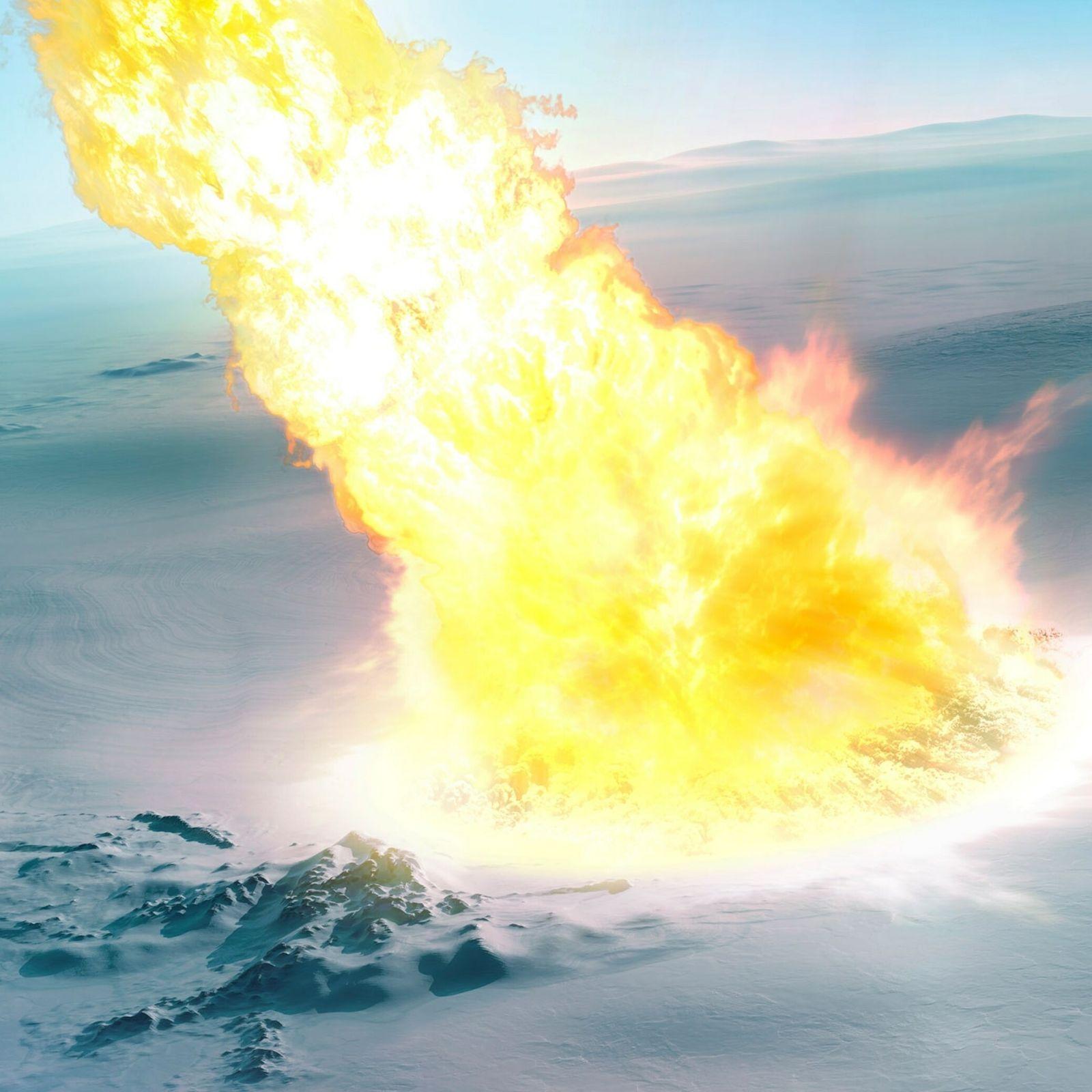 Representación artística del impacto del meteorito sobre la Antártida