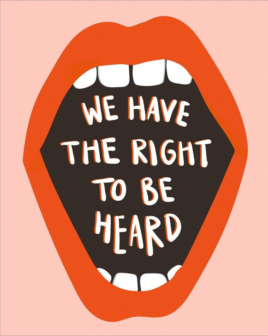 """Póster para la Marcha de las Mujeres de Washington que reza """"We have the right to be heard""""."""