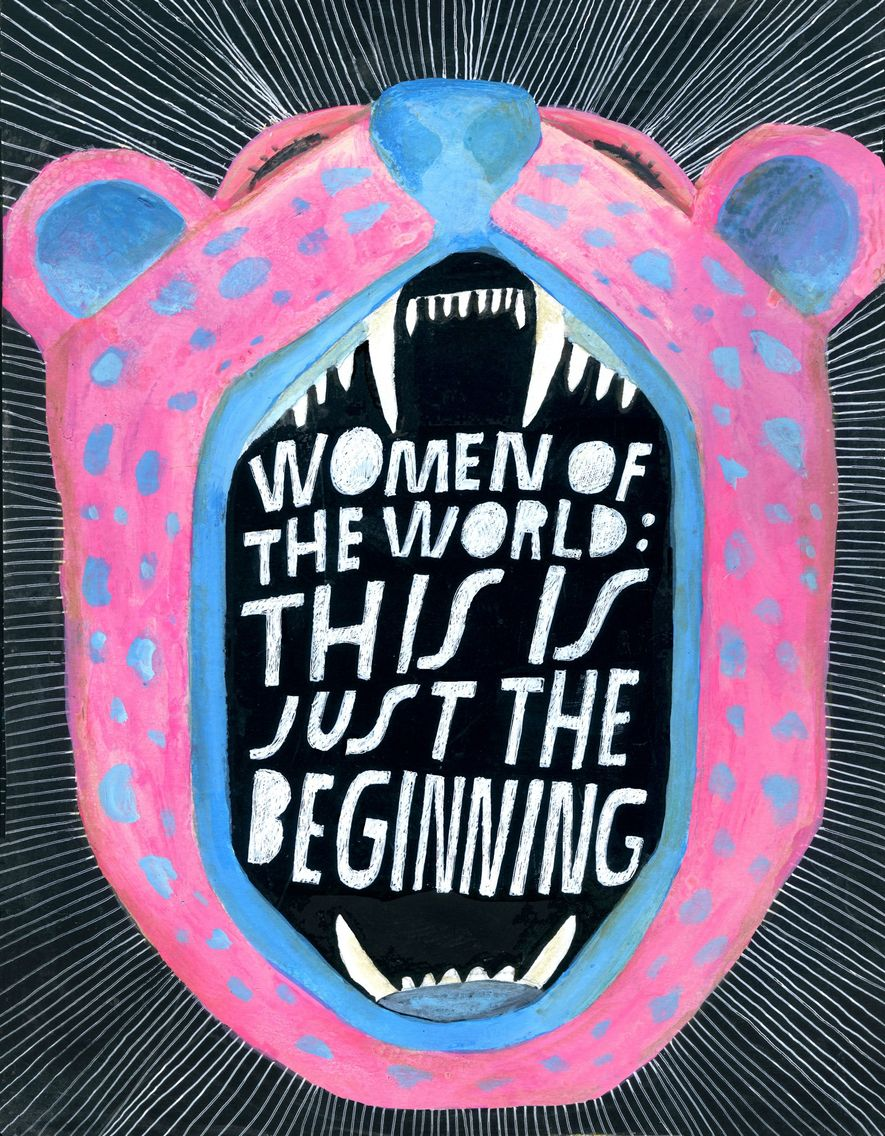 Inspiradas por la Marcha de las Mujeres de 2017 en Washington, las artistas crearon imágenes que se llevarían en el evento y posteriormente para capturar la energía que se sintió aquel día.