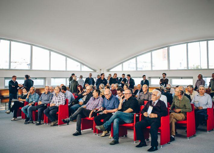 Los olivareros se reúnen en Veglie, cerca de Lecce, en un evento informativo sobre la Xylella ...
