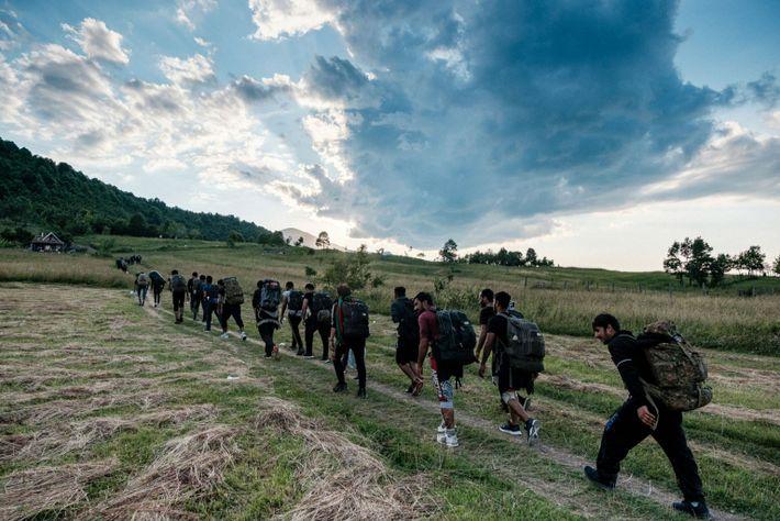 Hombres pakistaníes caminan hacia Croacia